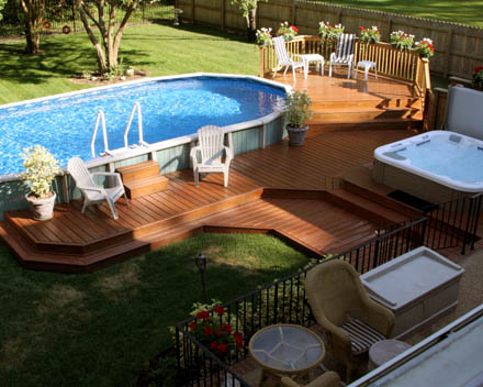 Comprar uma piscina for Above ground pool base ideas